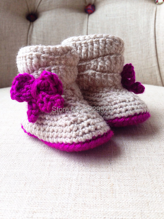 Crochet Slouchy Baby Boot Booties for winter use-in First ...