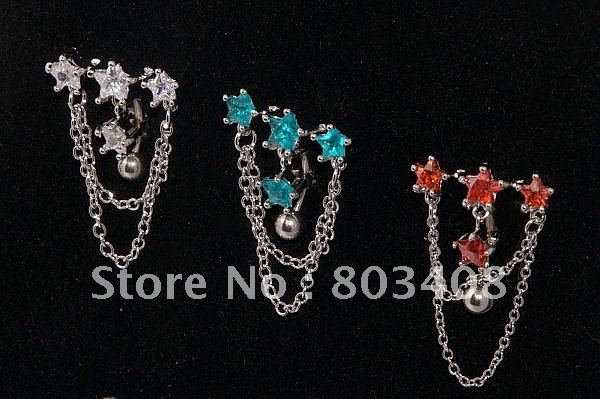Best selling Cubic zirconia reverse belly bar belly ring belly button ring star fancy chain body jewelry BNR68(China (Mainland))