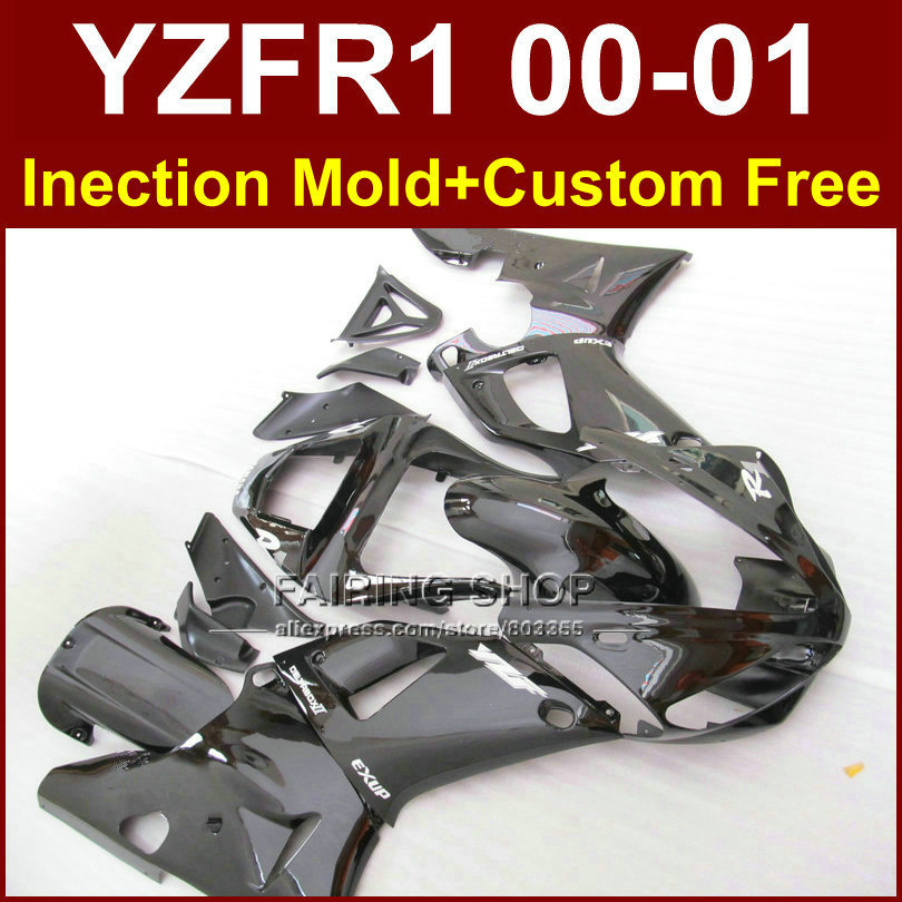 100% Injectionbodykit for YAMAHA YZF1000 ABS plastic glossy black fairings YZFR1 2000 2001 YZF R1 00 01 YZF R1 bodywork+7gifts(China (Mainland))