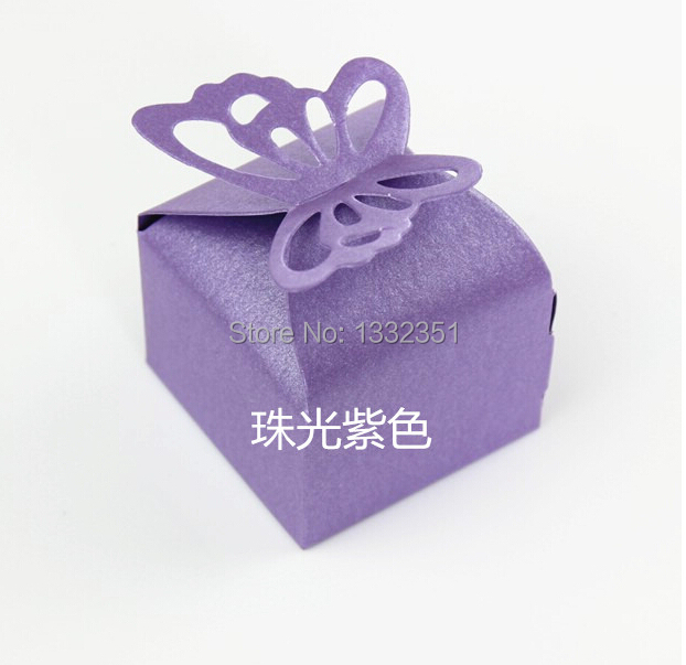 Purple Butterfly Aluminum Foil Gift Paper Candy Boxes Wedding Party Favor Chocolate Gift Box Packaging Bag Baby Shower gift box(China (Mainland))