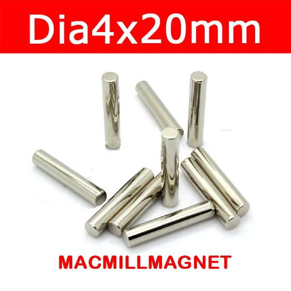 Magnetic rod,Bulk Cylinder Magnet D4x20 mm Neodymium Rare Earth Magnetic Curtain Rods N35 25pcs/lot, Free shipping(China (Mainland))