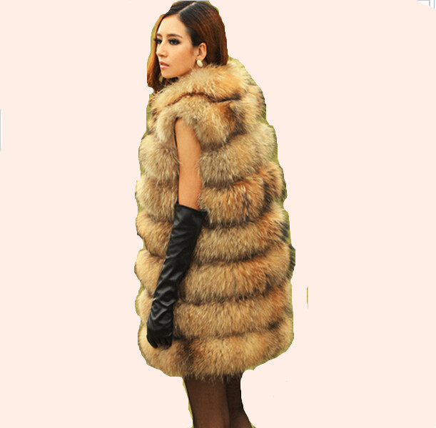 2016 New Real Genuine Raccoon Dog Fur Vest Natural Coats Women Winter Best Fashion Furs Jackets X-Long