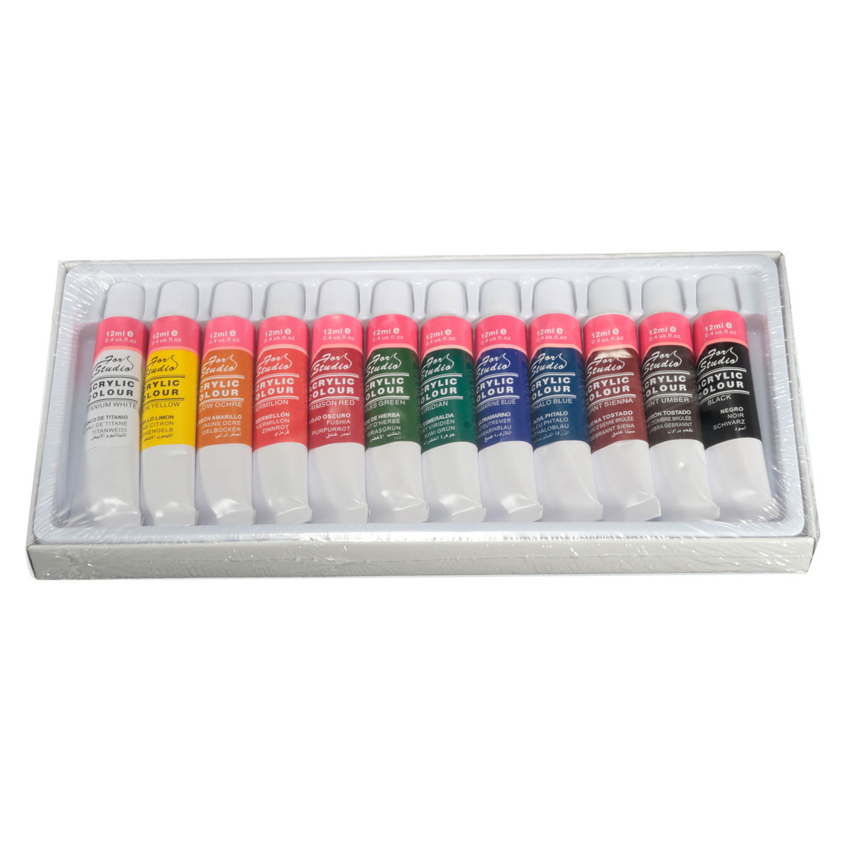 Best Price Best Promotion 12 Colors One Set 12ml Paint Tubes Draw Painting Acrylic Colour Set