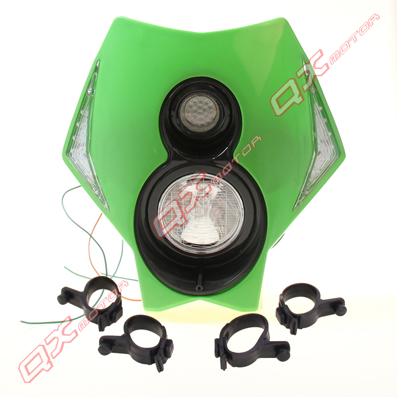 Green LED Motorcycle Headligh Streetfighter Dirt bike Head Light Fit For KLX CRM XR DRZ RMZ RM 250 YZ WR LED(China (Mainland))