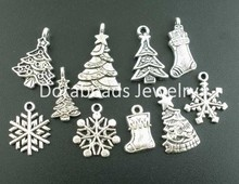 Free Shipping! 40PCs Mixed Antique Silver Christmas-Themed Charms Pendants Findings (B02718)(China (Mainland))