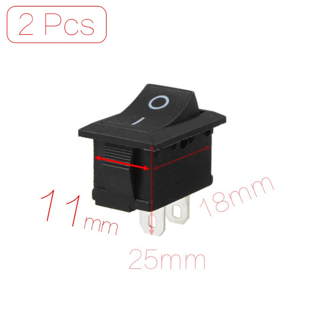 Mounting Hole 18mm x 11mm 2 Pcs/lot Black AC 250V 6A 2 Pin SPST On/off Snap-In Boat Rocker Switch Discount 70(China (Mainland))