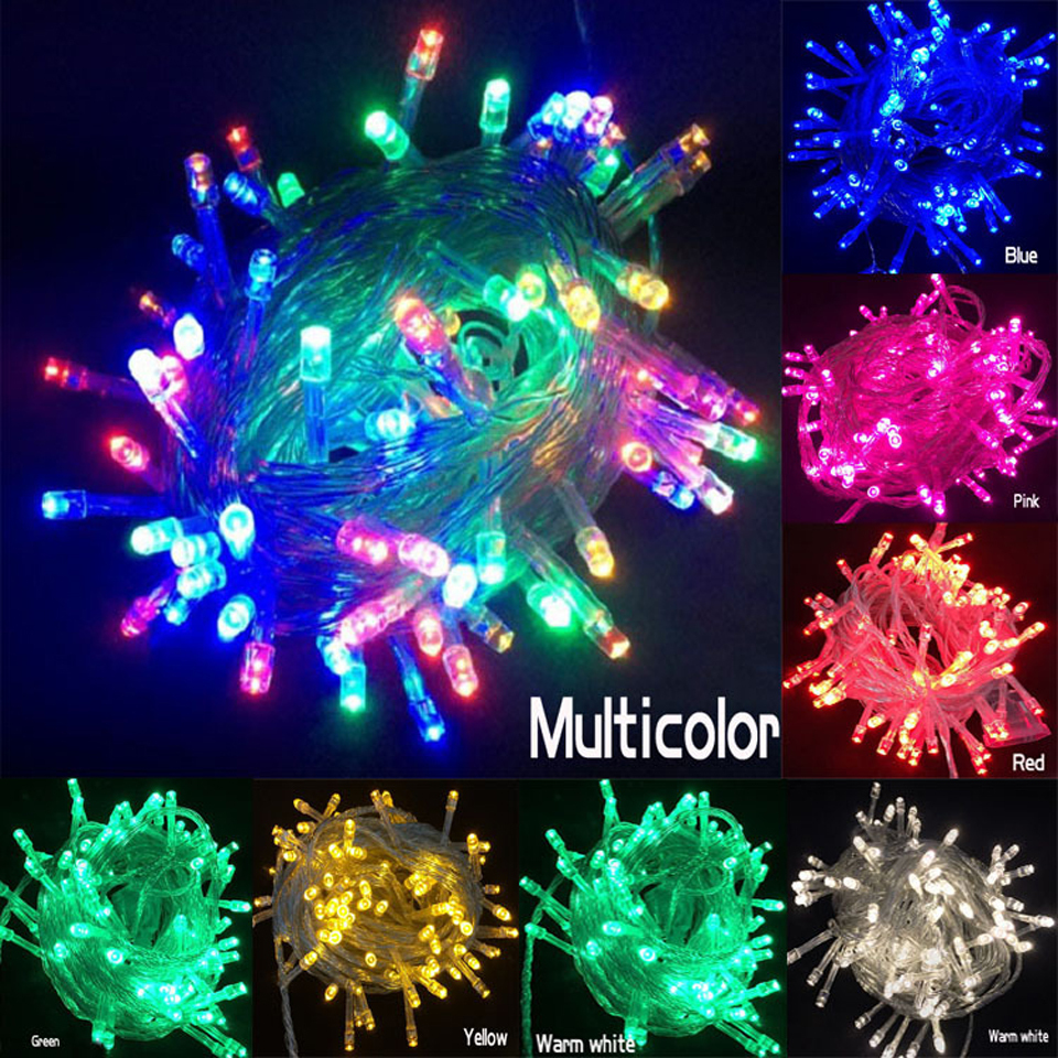 Outdoor Holiday String Lights : 2015 Free Shipping Holiday Outdoor RGB LED String Lights 10M 220V 110V Christmas Xmas Wedding ...