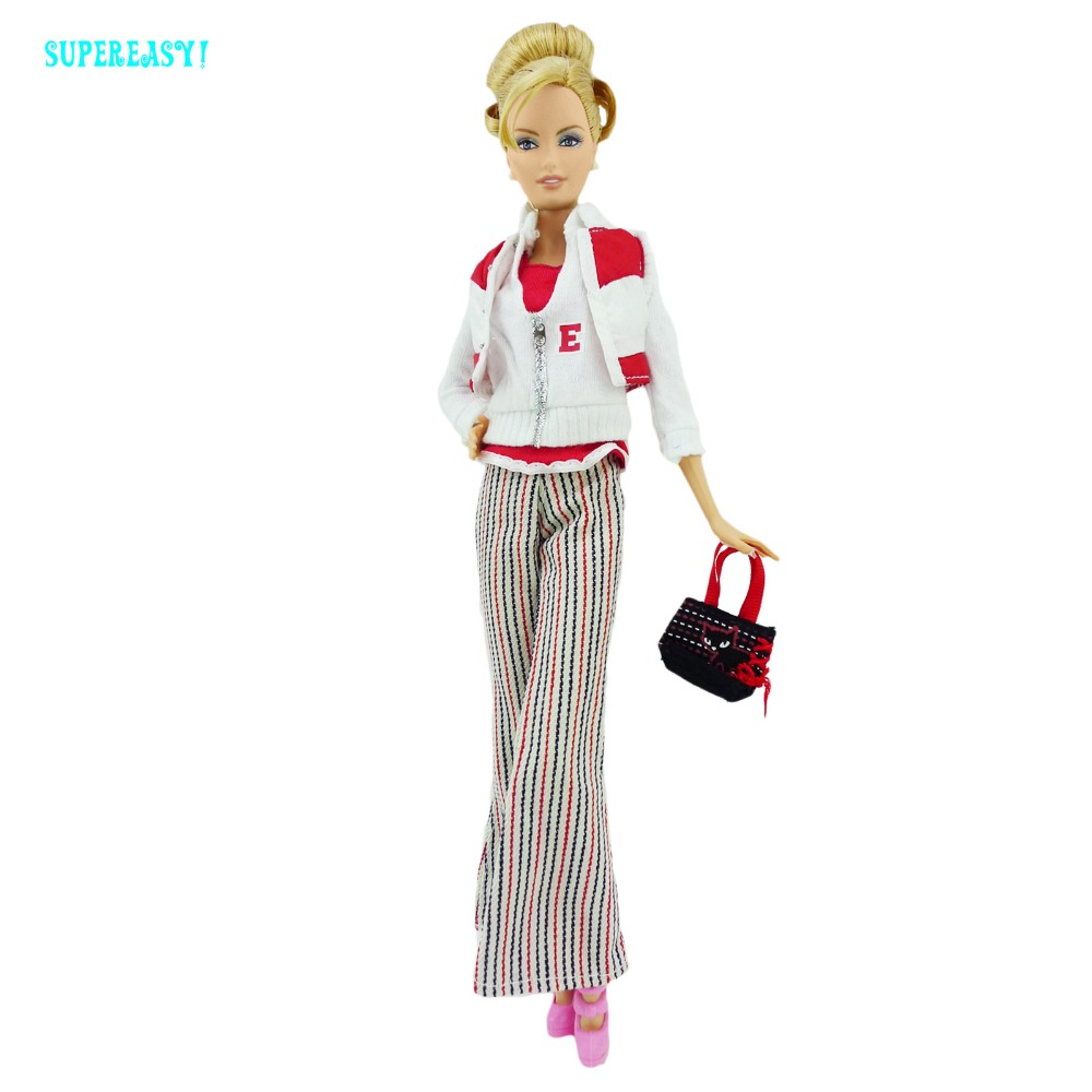 5 in 1 Vogue Outfit Lengthy Sleeves Shirt Flared Trousers Winter Costume Cute Purse Sneakers Garments For Barbie FR Doll Toy Present