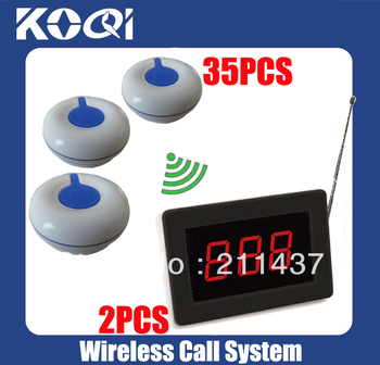 Wireless service calling system for restaurant wireless calling system of 2wireless receiver + 35 waterproof 100% Call Button O1