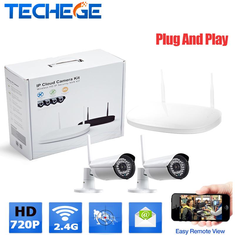 WIFI video surveillance system 2CH 720P Wireless CCTV sytem waterproof P2P 1.0MP Surveillance CCTV System Kit plug and play(China (Mainland))