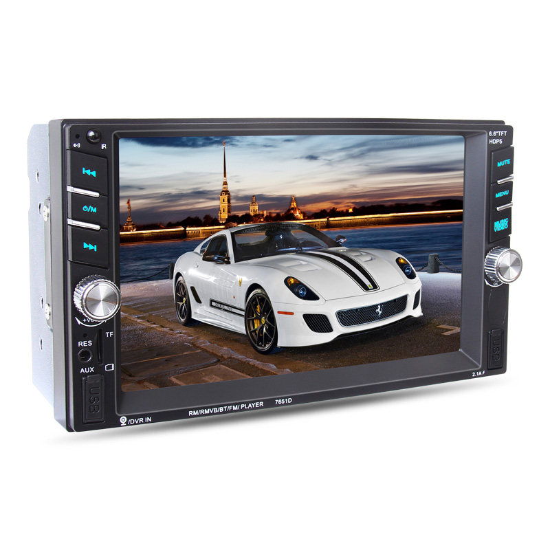 6.6 inch HD 2 Din MP5 MP4 Player Touch screen Car FM Radio stereo Bluetooth support rear camera 2 USB port FM #94629(China (Mainland))