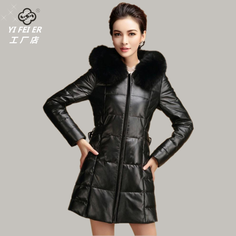 2014 New PU Leather Down Jackets Plus Size 3xl Long Winter Parkas Women Big Fur Collar Hoodies Down Overcoat Fashion In RussiaОдежда и ак�е��уары<br><br><br>Aliexpress