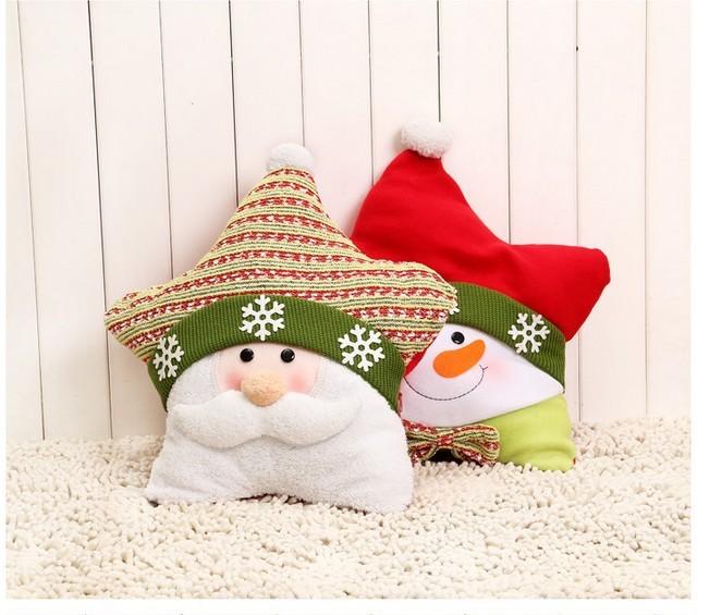 Santa Snowman pentagram pillow Christmas gift ideas Christmas gift home decoration 1pcs Free shipping(China (Mainland))