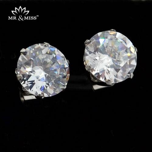 14*6mm Fashion Twinkle Zirconia stainless steel Stud Earrings Women Men Jewelry WE03