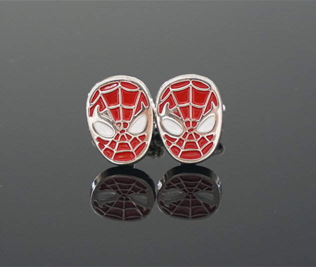 Spiderman Cufflinks Men Copper Cuff Links Silver Plated Mens French Cuff Link Fashion Jewelry Gift(China (Mainland))