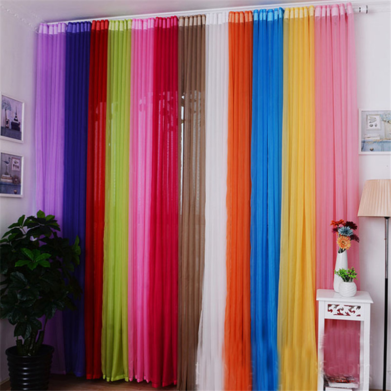 200 100cm solid color window sheer curtain living room