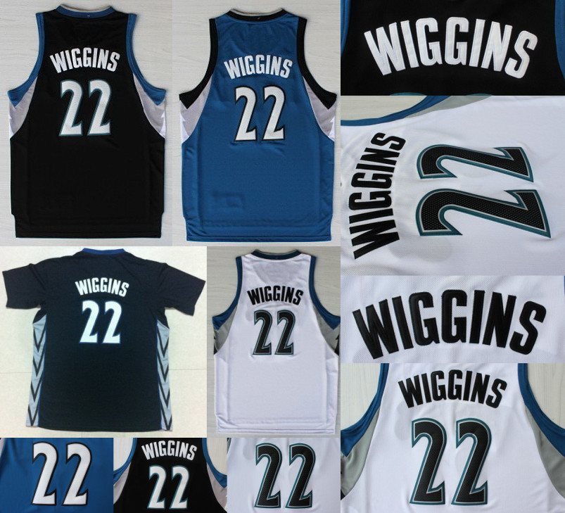 Minnesota 22 Andrew Wiggins Jersey White Blue Black Basketball Jersey New Arrival High Quality Super Hot Sales(China (Mainland))