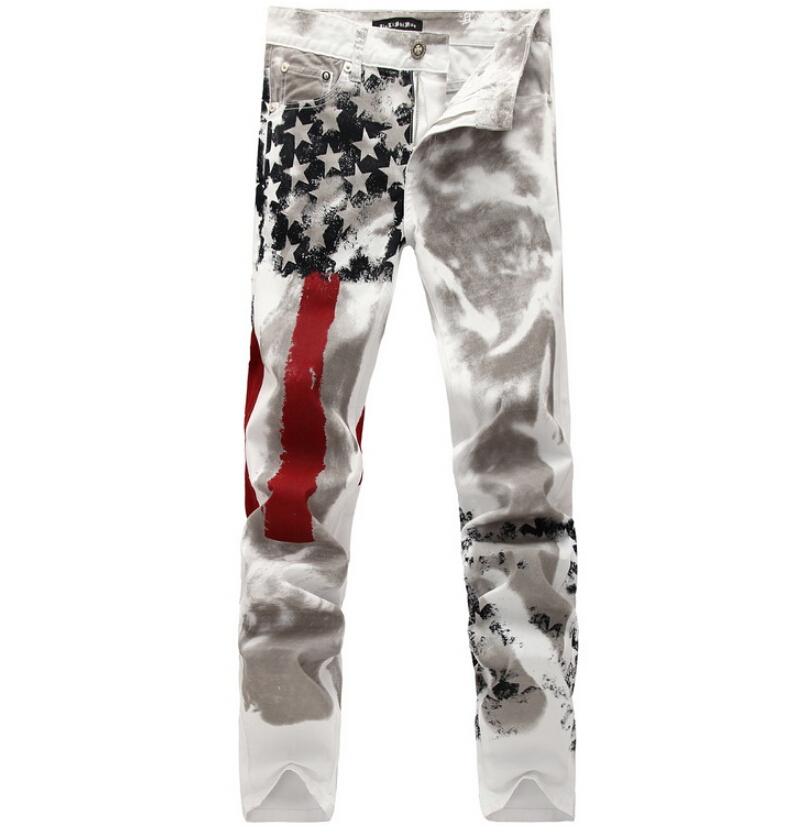 Фотография Plus size factory wholesale causal slim white flower print men long pants male singers Trousers men