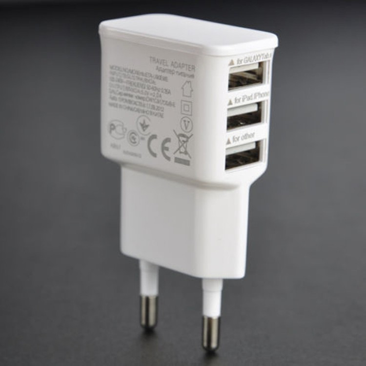 New Top EU Wall Charger Plug Adapter 3 Port Home Travel AC Phone Charger for Oneplus Asus Lenovo Samsung Iphone 6 5s 5 Sams New