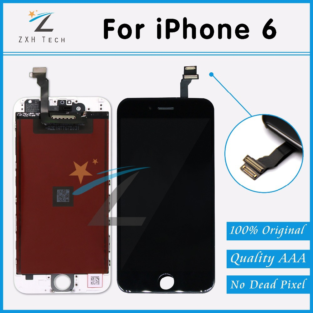 10 PCS/LOT None Spot Original for iPhone 6 LCD Full Assembly with Screen Replacement Lens Pantalla Black White Free DHL Shipping(China (Mainland))