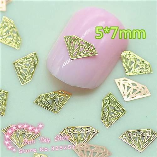500pcs metal golden diamond slice glitter nail art decoration free shipping(China (Mainland))