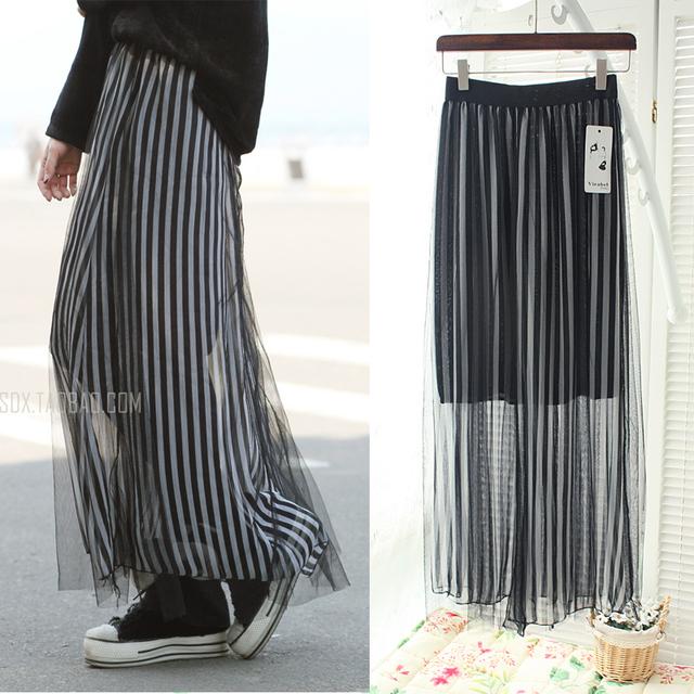 2013 spring and summer fashion gauze skirt full half-length chiffon dress female bust pleated skirt female skirt