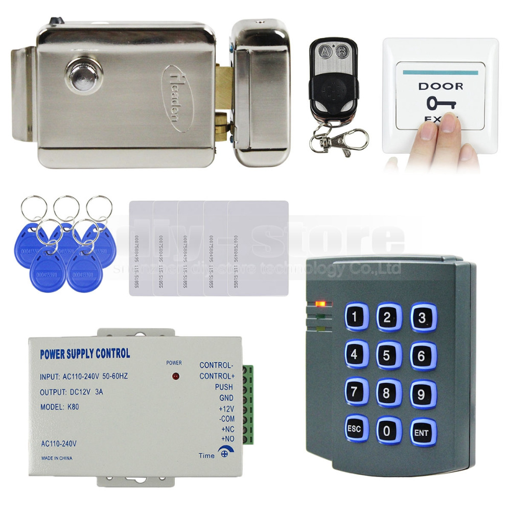 DIY Complete RFID Keypad Access Control System Kit + Electric Lock + Remote Control for House / Office 2501(China (Mainland))