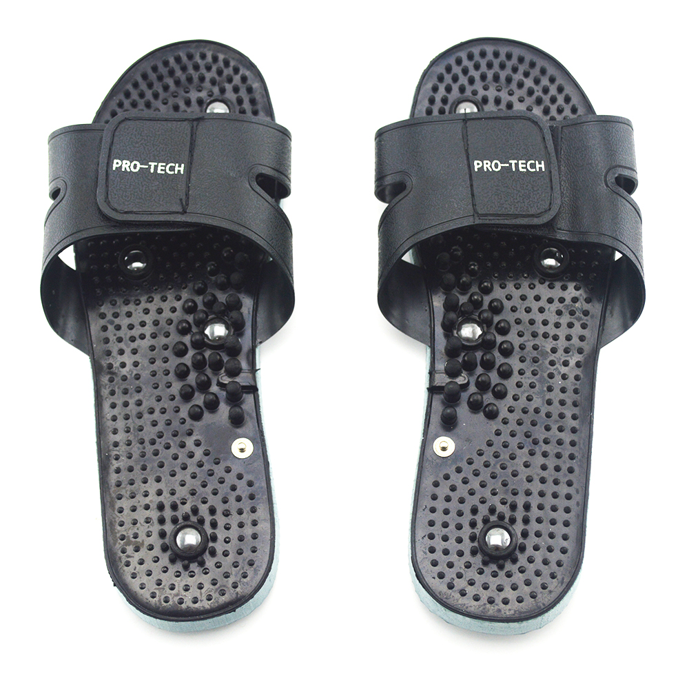 PRO-TECH Black Rubber Electrode SlippersSuit for Tens Acupuncture Therapy Massager Machine Physiotherapy Body Foot Massage(China (Mainland))