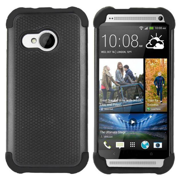 2 in 1 Rubber Silicone + PC Shield Silicone Case For HTC One M8 mini Protective Cover Case for HTC One Mini 2 M8 M9 M7(China (Mainland))