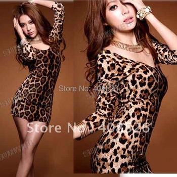 New Hot Women's Sexy Cotton Crew Neck Backless Long Sleeve Shirt Top mini Leopard Dress free shipping 25