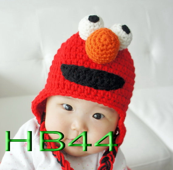 free shipping,50piece/lot Red Sesame Street ELMO Beanie 100% cotton Crocheted baby hats,children's 100% handmade beanie hats(China (Mainland))