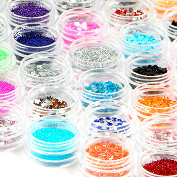 New 80 Pots of Mixed Styles Nail Art Decoration with Glitter Paillette Spangles Beads Powders Free Shipping