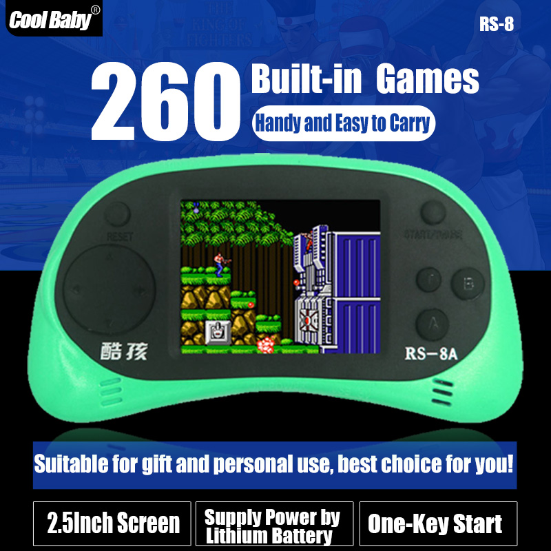 Children Handheld Game CoolBaby RS-8 Built 260 Different Games 8BIT Children's Game Consoles Cool child card game color tetris