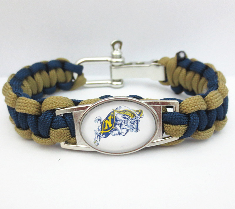 Paracord Bracelet NAVY MIDSHIPMEN team sport fan college Football Bracelets friendship Drop shipping B09725(China (Mainland))