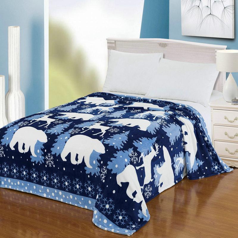 "Throw Blanket Warm Snug Plush Fleece Super Soft Sofa Couch Lounge Bed White Blue Polar Bear King Size 90"" X 80""(China (Mainland))"
