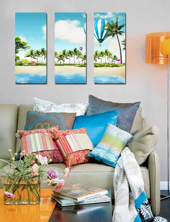 Paintings of Seaside Scenes 3pcs Seaside Beach Scene