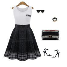 Women Midi Empire Waist Skirt Organza Pleated Skirts Women Elastic High Waist Zipper Vestidos Saia Feminino