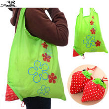 1 PCS Eco Storage Handbag Strawberry Foldable Shopping Bags Beautiful Reusable Bag 8 Colors(China (Mainland))