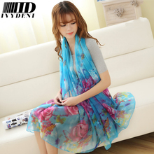 190*110cm 2016 Summer Print Silk Scarf Oversized Chiffon Scarf Women Wrap Sarong Sunscreen Pareo Beach Cover Up Long Cape Female(China (Mainland))