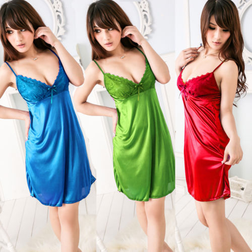 Details about Sexy Babydoll Lingerie Underwear Sleepwear Night-Robe Gown Dress Pajams 6 Color