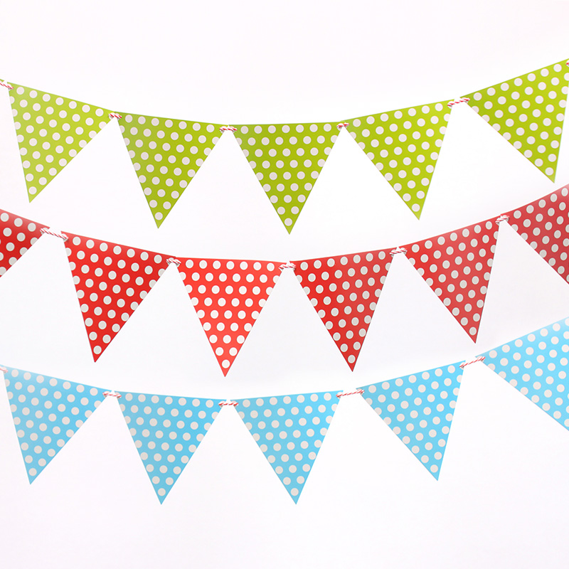 2M handmade Polka Dot Blue Pink Party Bunting Flags/Banners/Pennants Outdoor party Decoration 1 set including 10 small flags(China (Mainland))