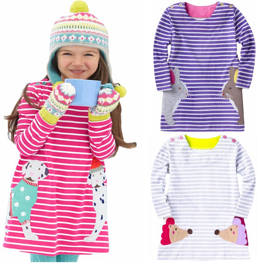 2016 New Arrival 100% Cotton Girls Brief Striped Fashion Cute Little Animal Pattern Dress Kids Spring & Autumn Vestidos Dresses(China (Mainland))