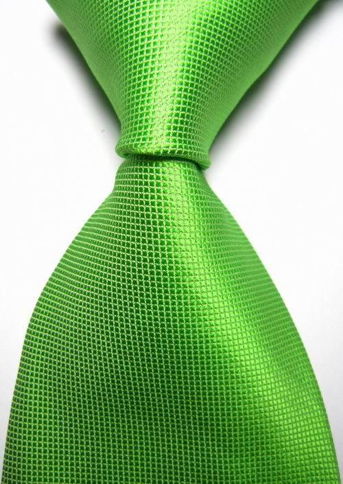 New Solid Spring Green Checked JACQUARD WOVEN Men's Tie Necktie(China (Mainland))