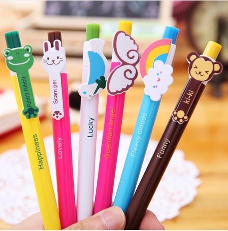 6-12 Pcs Child Kid Baby Education Cartoon Ball Point Pen Student Learn Writing Pen(China (Mainland))