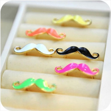 Promotion Punk beard Moustache Rings The Gold plated Resizable Colorful Ring o for women Party Wholesale fashion jewelry,GH708(China (Mainland))