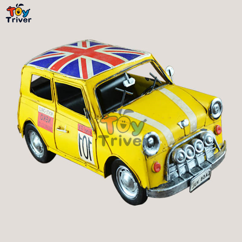 2016 Classical vintage mini cooper car model simulation metal handmade car boy Car lovers gift toy home decoration 29.5cm  <br><br>Aliexpress