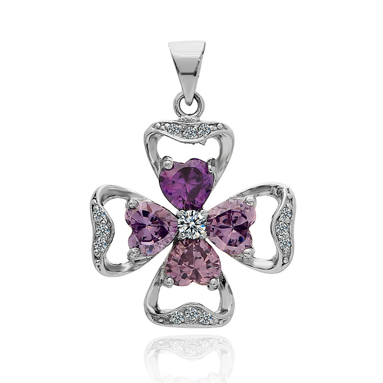 Beautiful Purple White Zircon Stones Necklace Pendant Solid Sterling Silver Flower Girls - LCC Fashion Jewelry & Accessory store
