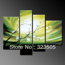 Buy 4 piece wall art abstract modern hand painted flower green oil painting canvas living room free for $57.00 in AliExpress store