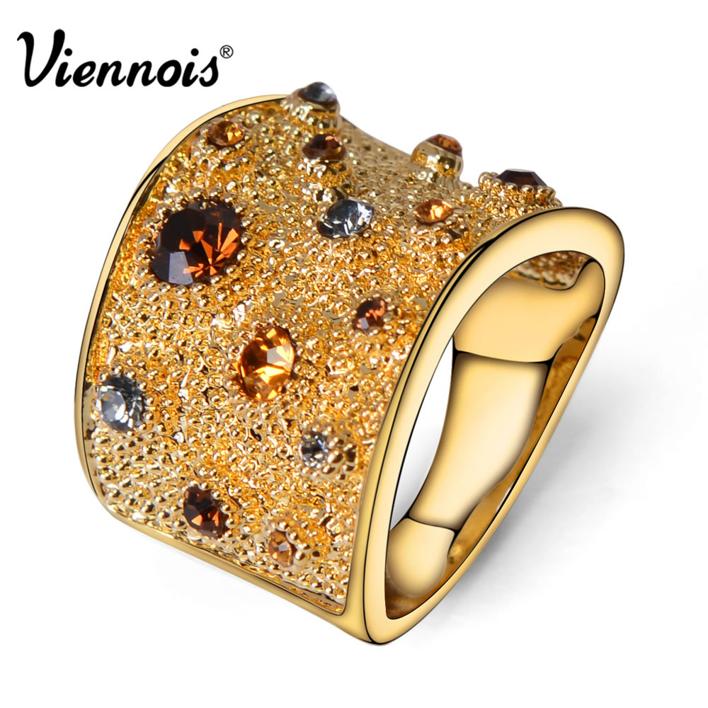 Viennois Wide Gold Plated Rings Rhinestone Crystal Double Cuff Cocktail Ring Size 6 7 8 9 For Women(China (Mainland))