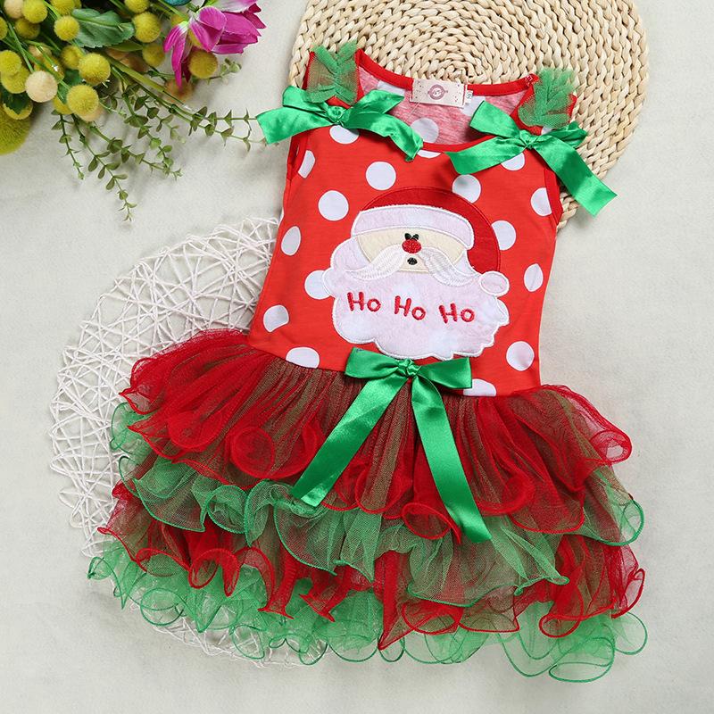 Скидки на Смарт-Роскошные Бесплатная Доставка 2016 новые дети Хэллоуин Рождество Платье хлопка с длинным рукавом с коротким рукавом платье красный торт юбка